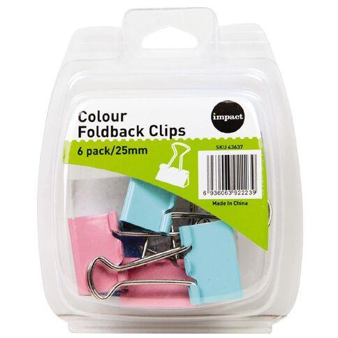 Impact Foldback Clips 25mm 6 Pack Colour