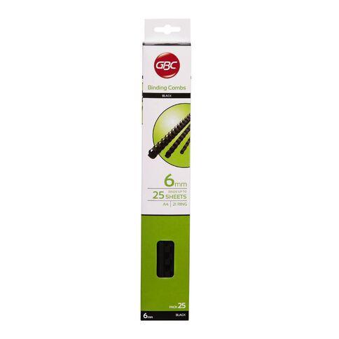 Ibico Binding Comb 6mm 25 Pack Black