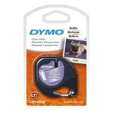 Dymo Label Tape Plastic Clear 12Mm X 4M Clear