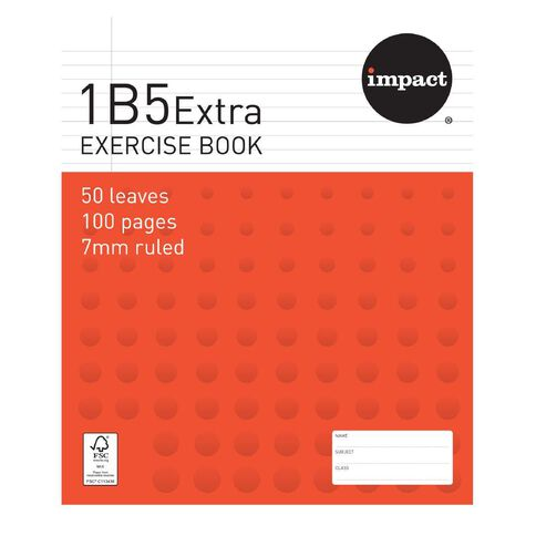 Exercise Book 1B5 7mm Ruled 50 Leaf Red