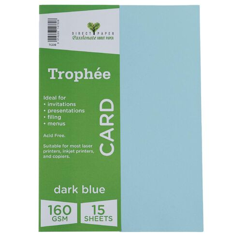 Trophee Card 160gsm 15 Pack Blue Dark A4