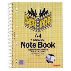 Spirax 4 Subject Book 7mm 160 Leaf Yellow A4