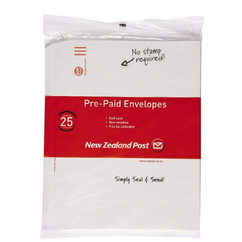 New Zealand Post Envelope Prepaid C4 Nonwindow Selfseal 25 Pack White