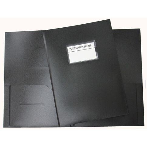 GBP Stationery Presentation Folder With Name Holder Black A4
