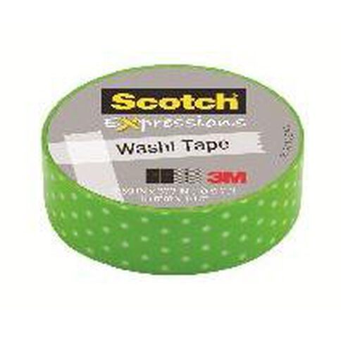 Scotch Washi Craft Tape 15mm x 10m Swiss Dot Green