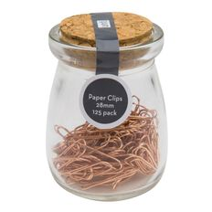 Uniti Paper Clip In Glass Jar Rose Gold