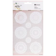 Rosie's Studio Twig & Twine Clear Doily Stickers 2 Sheets Multi-Coloured