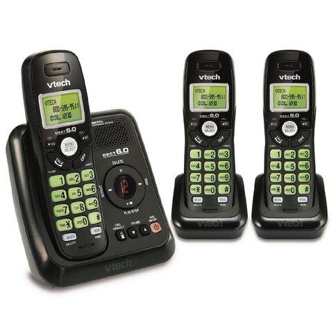 Vtech Cs6124-3 Cordless Phone Triple Black