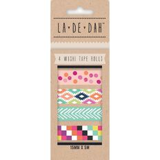 La De Dah Washi Tape 4 Pack Multi-Coloured