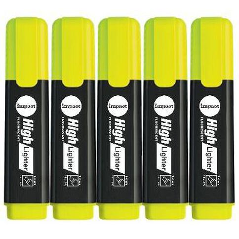 Impact Highlighters 5 Pack Yellow