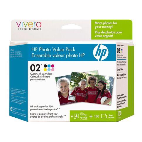 HP Ink Cartridge 02 Photo Value 6 Pack Multi-Coloured