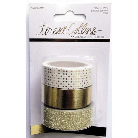 Teresa Collins Glam Premium Washi Tape Glitter 3 Pack Gold
