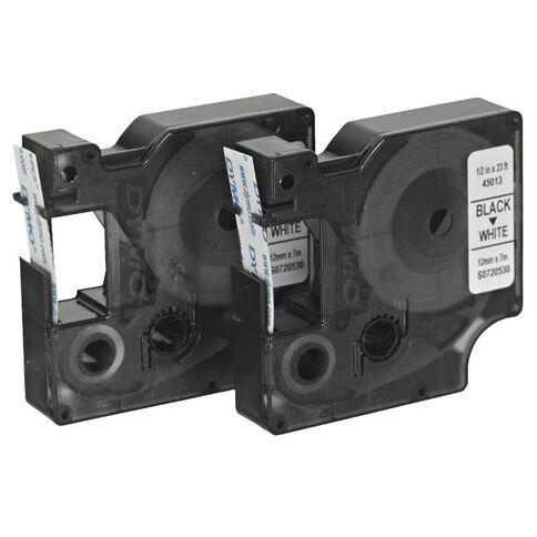 Dymo D1 Twin Label Tape 12mm x 7m Black/White