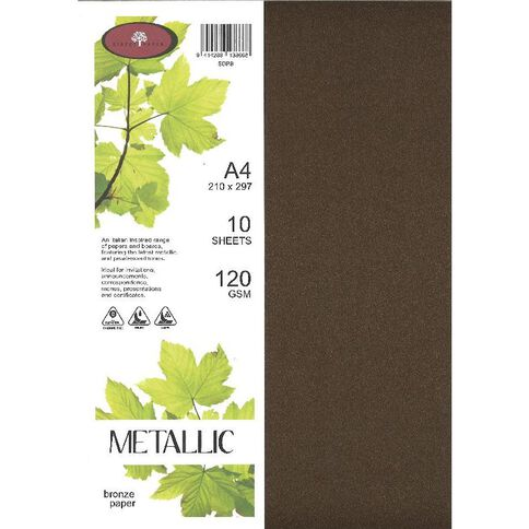 Metallic Paper 120gsm 10 Pack Bronze A4