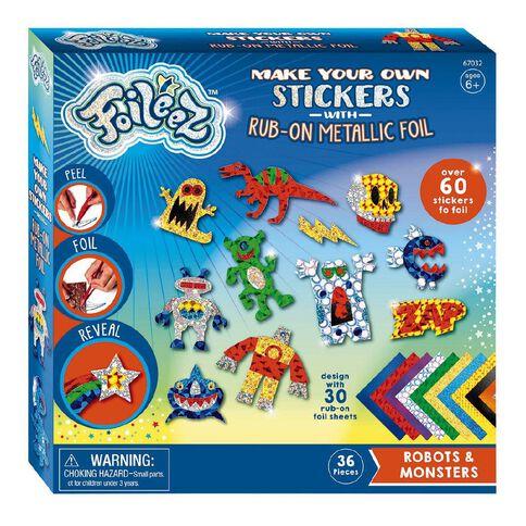 Wizzworx Foileez Large Sticker Pack Robots & Monsters