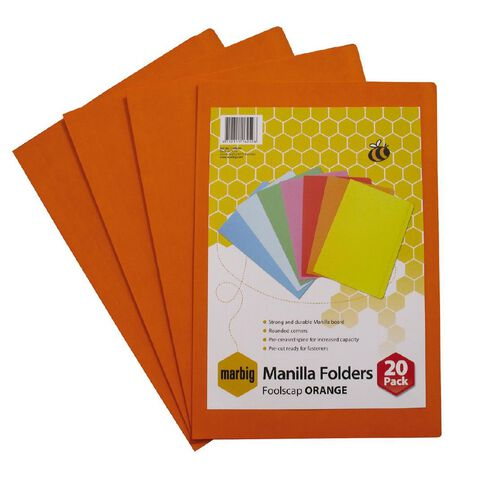 Marbig Manilla Folders Foolscap 20 Pack Orange