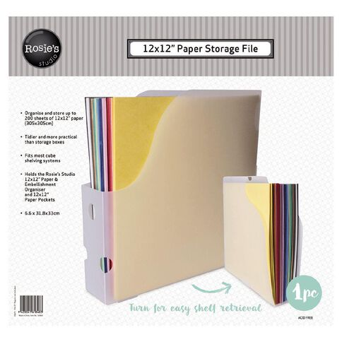Rosie's Studio Paper Holder 12in x 12in Clear
