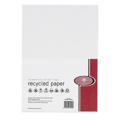 Recycled Paper 110gsm 100 Pack Iceberg A4