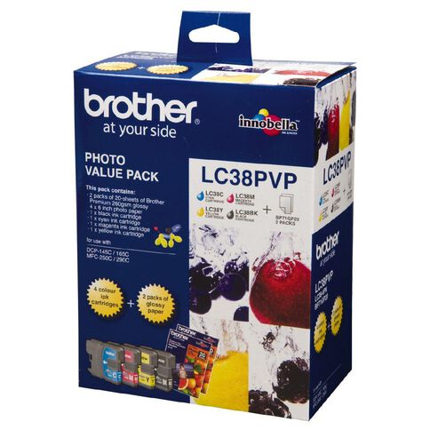 Brother Ink Cartridge LC38 Photo Value 4 Pack Multi-Coloured