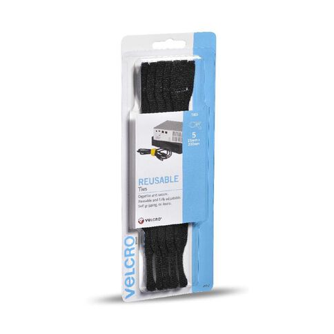 VELCRO Brand Reusable Ties 5 x 200mm Black