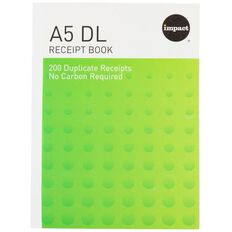 Impact Receipt Book A5/4Dl Ncr 200 Receipts Green
