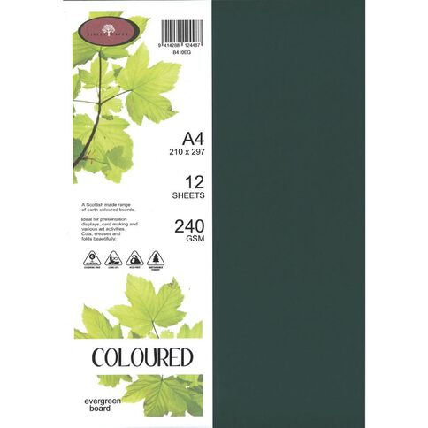 Coloured 240gsm Board 12S Evergreen A4