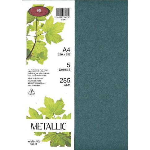 Metallic Board 285gsm 5 Pack Malachite A4