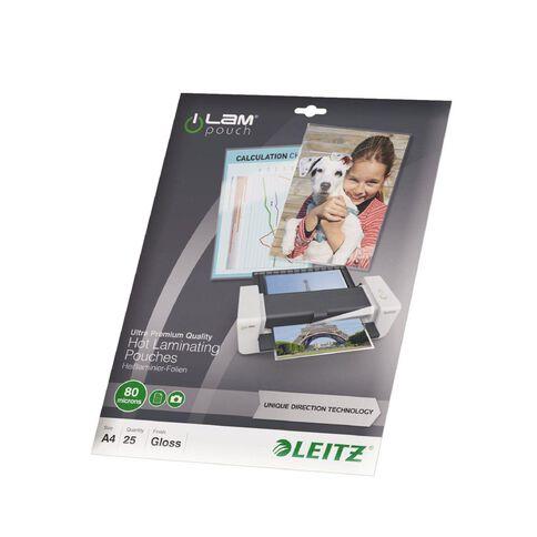 Leitz iLam Udt Lamination Pouches A4 80mic 25 Pieces Clear