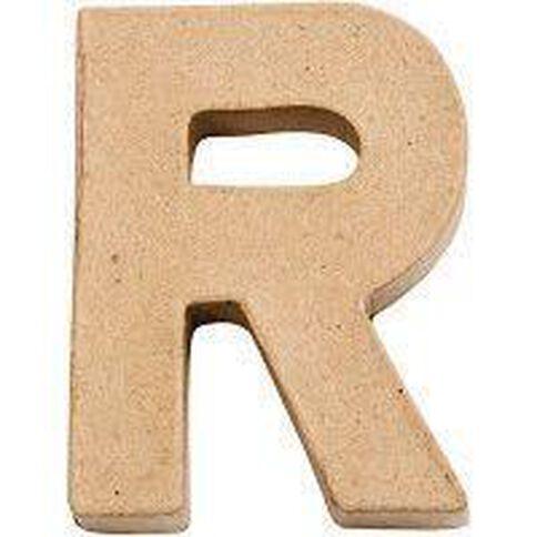 Paper Mache Alphabet Small Symbol R 10cm Brown