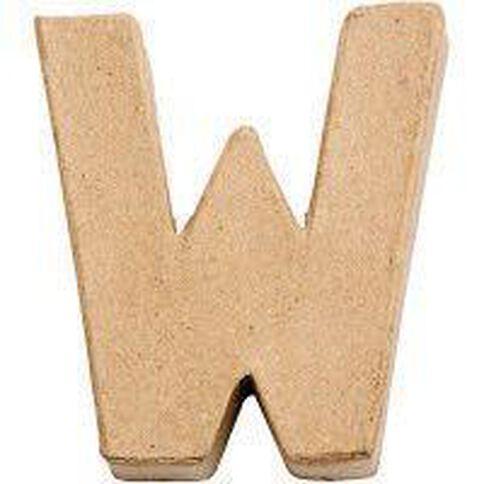 Paper Mache Alphabet Small Symbol W 10cm Brown
