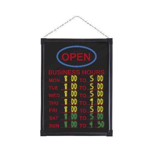 Quartet Led Business Hours Board 450 x 600mm Black