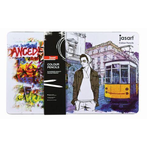Jasart Coloured Pencil Tin Set 36 Pack
