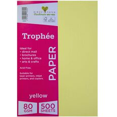 Trophee Paper 80gsm 500 Pack Yellow A4