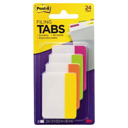 Post-It Filing Tabs 686-Ploy 50.8mm x 38.1mm Brights Assorted