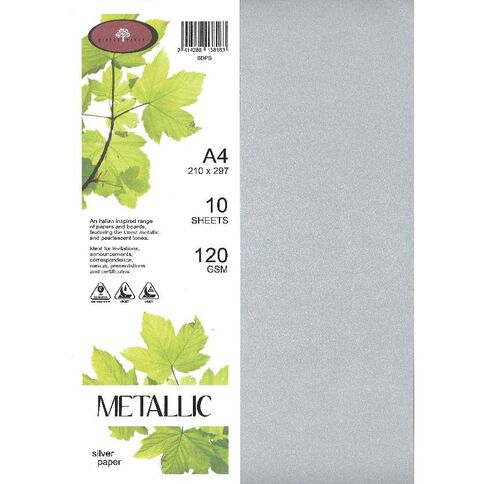 Metallic Paper 120gsm 10 Pack Silver A4