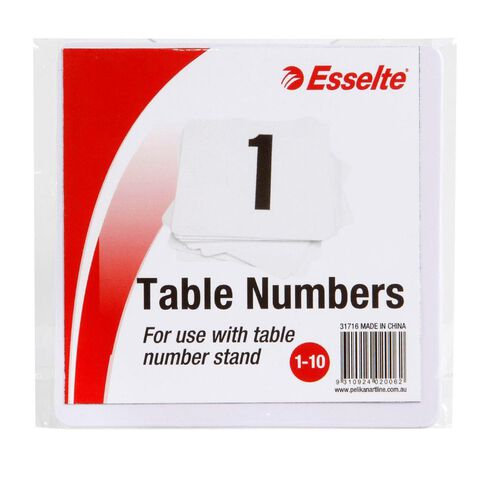 Esselte Table Numbers 1-10 10cm 10 Pack White