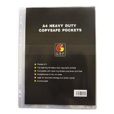 GBP Stationery Copysafe Pockets Heavy Duty PVC 5 Pack Clear A4