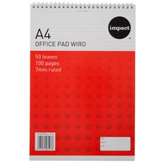 Impact Wire-O Notepad 80gsm 7mm 50 Leaf White A4