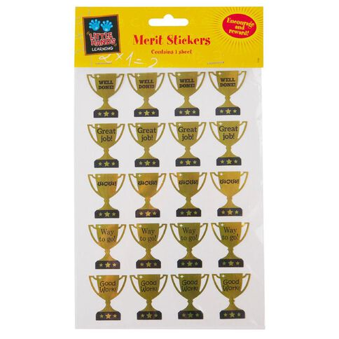 Little Hands Learning Merit Stickers Foil Trophies Gold