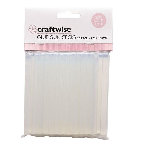 Think Creative Glue Gun Sticks 7.2 x 100mm 25 Pack Clear