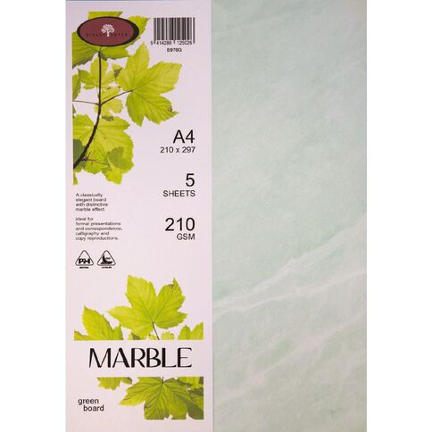 Marble Paper 210gsm 5 Pack Green A4