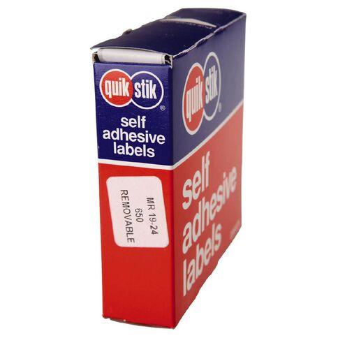Quik Stik Labels Mr1924 19mm x 24mm 650 Pack White