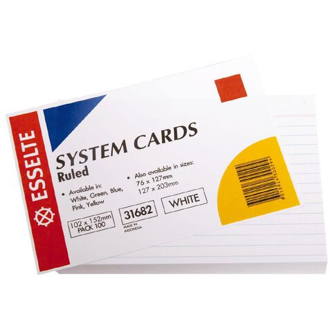 Esselte System Cards Lined Medium 102 x 152mm 100 Pack White