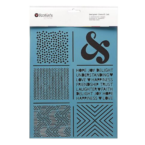 Rosie's Studio Coordinated Stencil Set 6 Pack Assorted Assorted