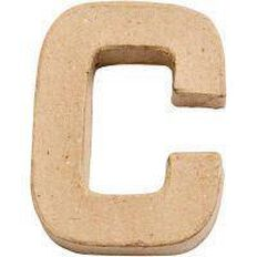 Paper Mache Alphabet Small Symbol C 10cm Brown