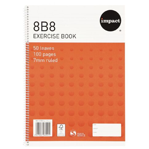 Impact Exercise Book 8B8 7mm Ruled Spiral 50 Leaf