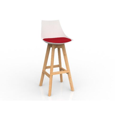 Luna Oak Base Barstool White Chilli Red