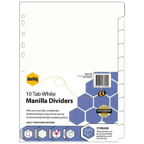 Marbig Dividers Manilla 10 Tab Re-Inforced White A4