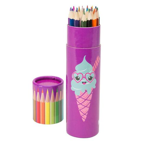 Kookie Ice Cream Colour Pencils 24 Pack Purple Purple