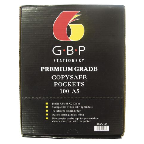 GBP Stationery Premiun Copysafe Pockets Box 100 Clear A5